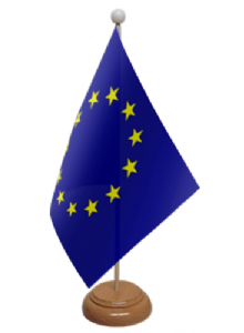 European Union, EU Desk / Table Flag with wooden stand and base